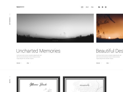 Redesign of Personal Portfolio Website slider artwork clean simple minimalistic inter ui roboto panorama images artworks personal portfolio redesign website