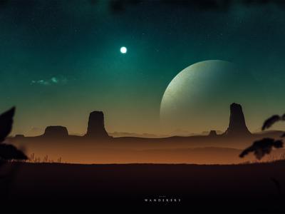 Wanderers - Digital Artwork speedpainting night planet fiction sci-fi fantasy desert digital art drawing illustration sun stars sky landscape