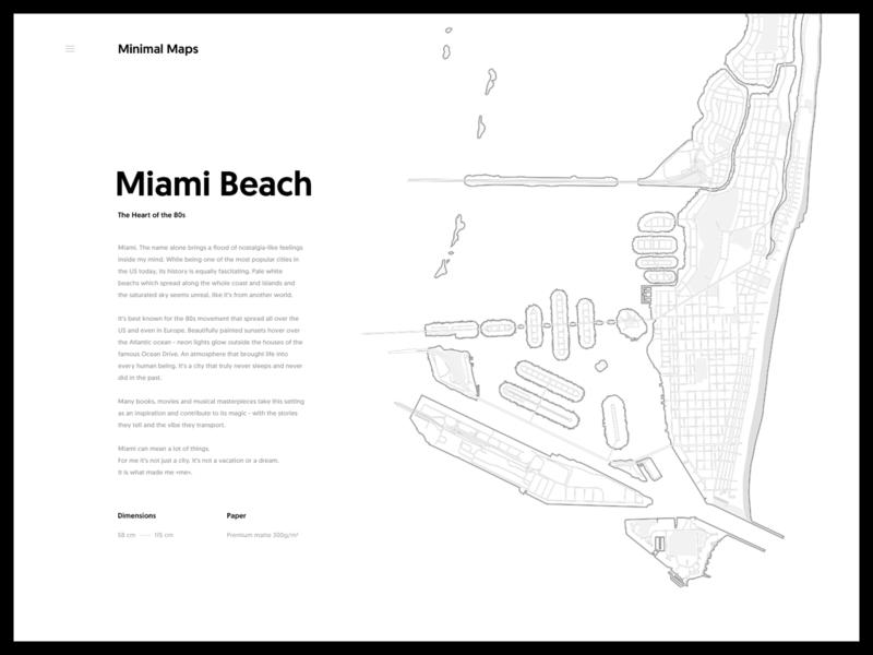 Miami Beach - Minimal Maps personal line miami 80s illustration city black and white map minimal