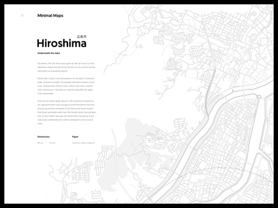 Hiroshima - Minimal Maps geomanist japanese simple line shop poster paper japan hiroshima minimal map illustration city