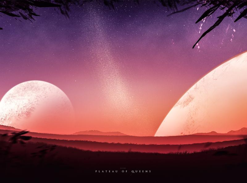 Plateau of Queens - Digital Artwork plateau digital art fantasy fiction speedpainting illustration desert space milkyway landscape planets sky stars
