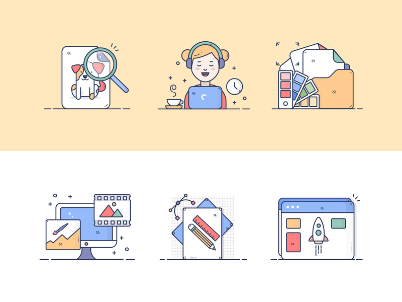 Creative design process icons procses tools creative web girl computer design vector illustartion icons
