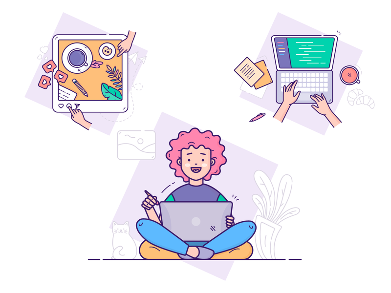 UI illustrations laptop girl icon drawing icons flat ui vector illustrations branding design illustartion