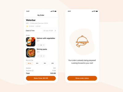 Food order pickup app — Checkout application order checkout mobile design mobile app design mobile application app ui mobile ui mobile app ui design interface ui design uiux user interface user experience restaurant app restaurant food booking food app