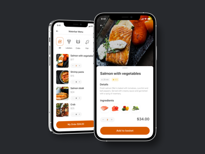 Food order pickup app — Restaurant, menu and dish page dish menu mobile design mobile app design food app mobile application app uiux mobile ui mobile interface ui design user interface user experience restaurant app restaurant design booking app ui design app ui application