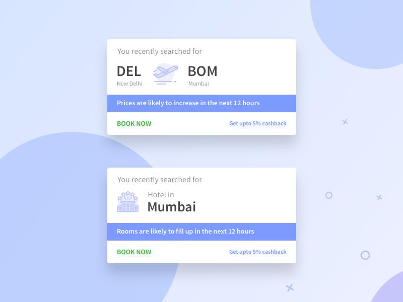 Flight & Hotel Retarget Growth Hack mobile app card hotel flight travel clean ux ui design product design growth hack