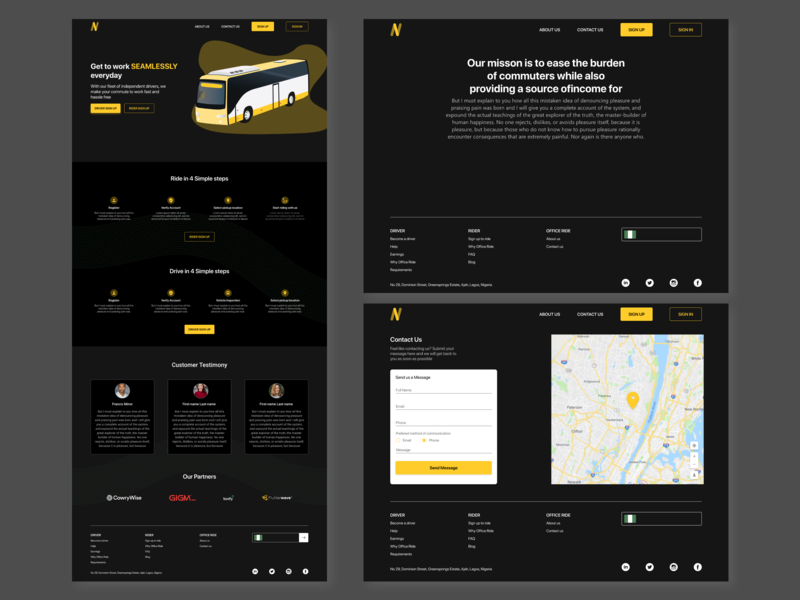 Work Bus xd adobe xd track about contact landing web transportation bus transport