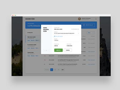 Send funds screen crm interface branding web ux ui mobile minimal design
