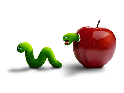 Angry worm worm angry apple newsletter illustration