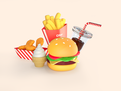 Burger and Friends artwork nuggets soda fries menu fast food burger illustration