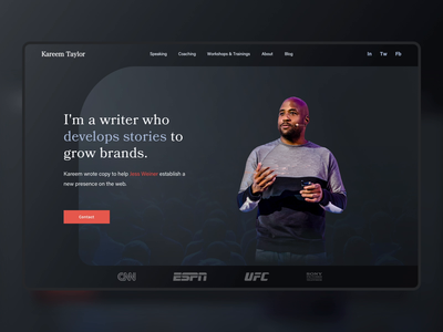 Kareem's Storytelling Website website website banner stories copywriter speaker personal website motion landing page hero banner hero banner storytelling