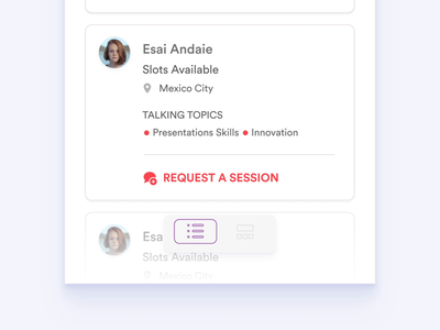 Card and Views Transitions sessions mobile agenda schedule speakers agenda profile card toggle switch motion beast motion animation list page list view list cards transitions transition mobile animation mobile app