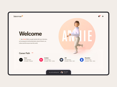 Intervue - Lobby transitions motion call video interview filters filter render 3d product design welcome page hr recruiter recruiting hiring intro landing welcome start lobby