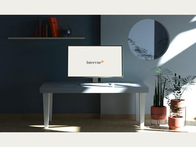 Intervue 3D scenes product design ui motion recruiting room desk interview hiring 3d animation scene composition 3d
