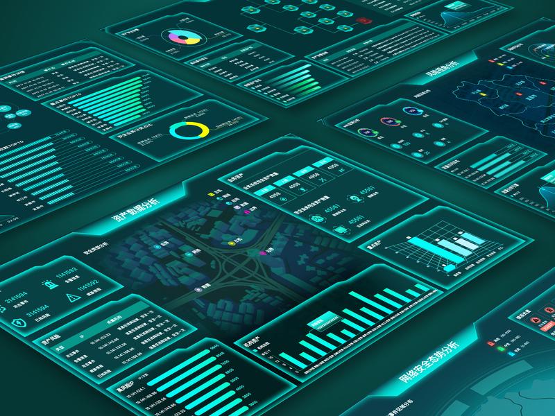 Intelligent security visualization big data collection 仪表板 图表 visualization data 数据可视化 大屏设计 design 3d ui