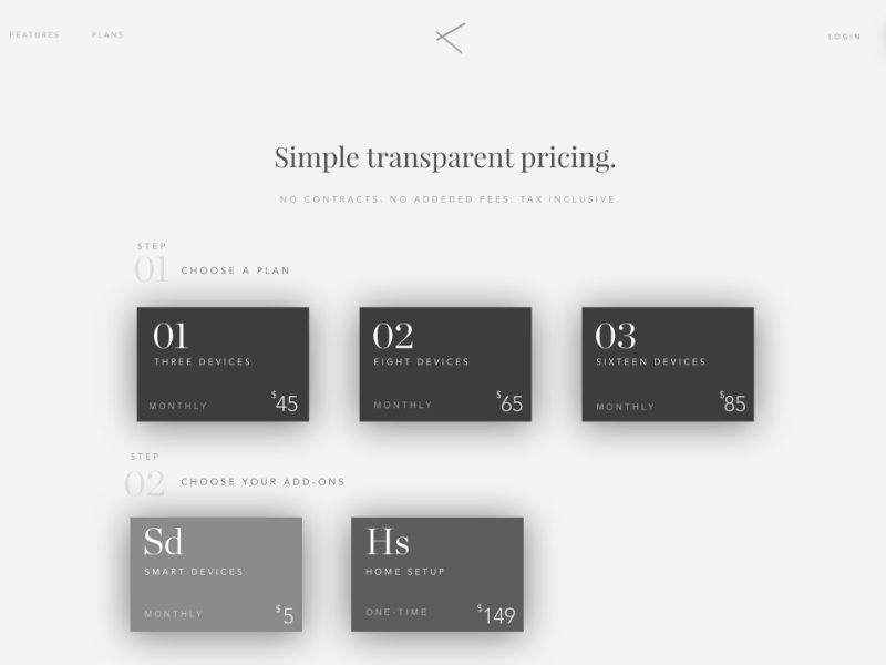 Pricing Page Tech Startup web ux ui shadow pricing minimal grid shot first
