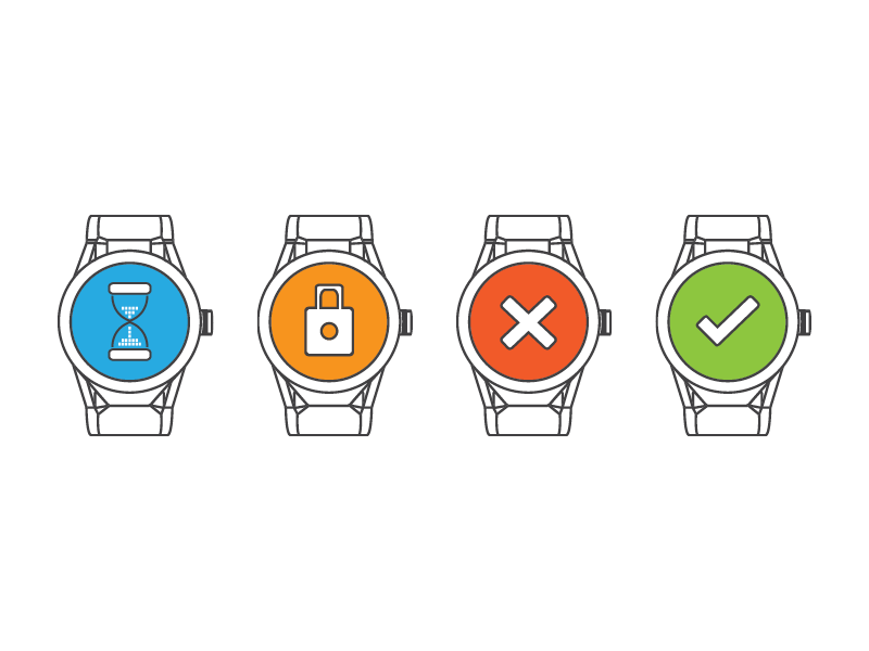 Icons for a watch updater software flat design developers updater software app smart watch icons