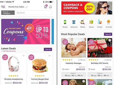 eCommerce App Home Screen Design design coupons app app mobile ecommerce app