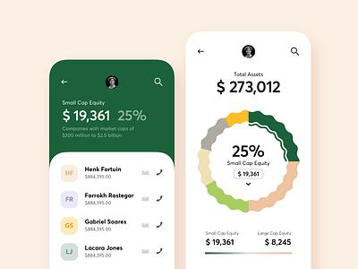 Financial Mobile App mobile app financial minimal interface budget green finance app finance ux ui mobile design colors chart clean app