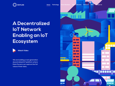 Anylog Home Page vector flat network city blue website page landing concept crypto ecosystem iot illustration web design ui