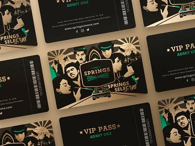 Gift Card movie retro print emerald gold graphic web ui vector illustration character flat art design card branding brand
