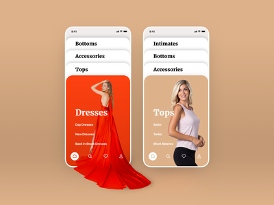 Shopping App Concept mobile interface shop store ecommerce clothing minimal clean fashion concept typography gold red dress design app web ux ui