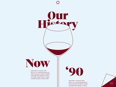 Our History Page clean flat wineglass vector whitespace website web typogaphy minimal timeline history desktop branding design ux ui wine