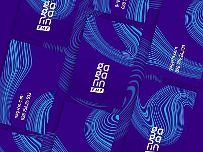 Gagarin Business Card pattern art vector flat sound voice logo wave abstract web ui branding brand business card identity blue design