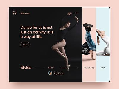 Dance Studio Landing Page site grid header hero ballet dance clean ux landing modern minimal black desktop typography website web design ui