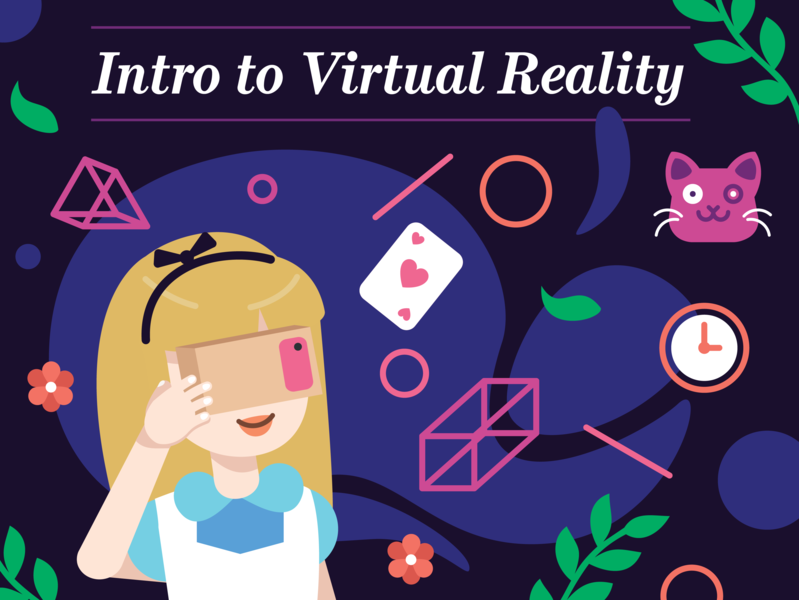 Intro to Virtual Reality character colorful illustration 2d 3d aliceinwonderland virtual reality