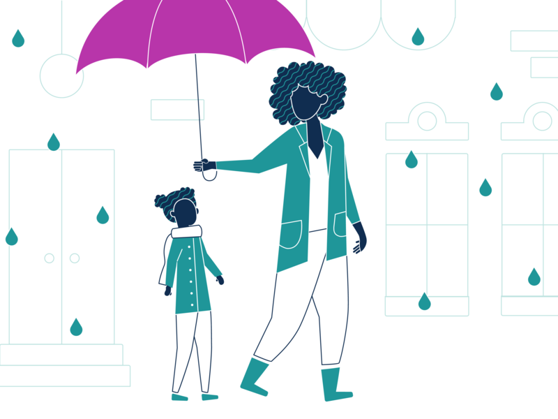 Mother and Daughter Under an Umbrella family rain umbrella vector color character illustration