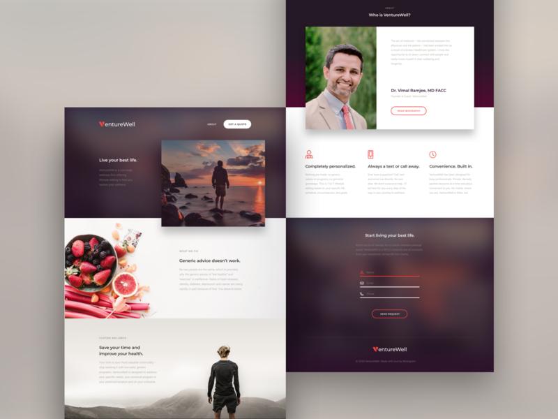 VentureWell fitness fruits lifestyle wellness healthy heart blur web design website