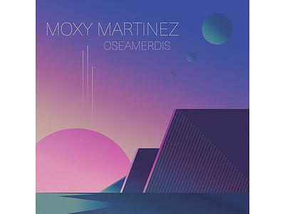 Moxy Martinez planet space shadow record light illustration gradient geometric electronic music electro cover album