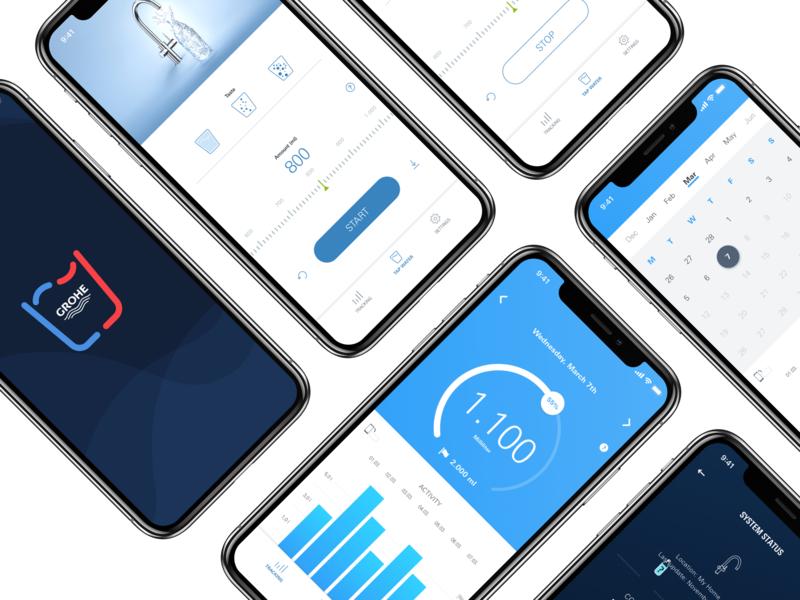 Phone Mockup Blue Mood android ios drinking water mobile app mobile ui  ux design ui  ux ux ui app branding app