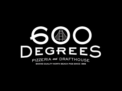 600 Degrees Pizzeria and Drafthouse | main ID pizza bw logo food restuarant beer