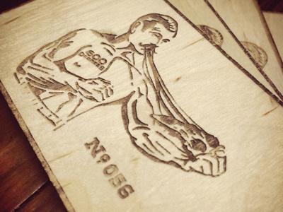 600˚ lasercut giftcard pizza boxer woodcut lasercut card wooden nickel