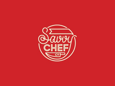 WIP | food related food logo circle knife chef savvy script display inline. mono-weight red
