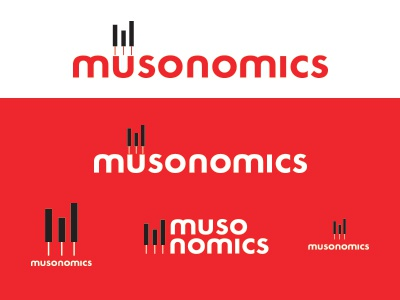 Musonomics | WIP logo music economics piano keys bar graph wip