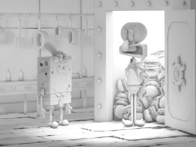 Spongebob movie poster 3D photoshop graphic movie poster 3d cinema4d