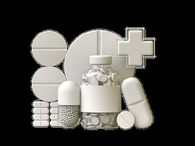 Medicine branding 3d illustration cinema4d