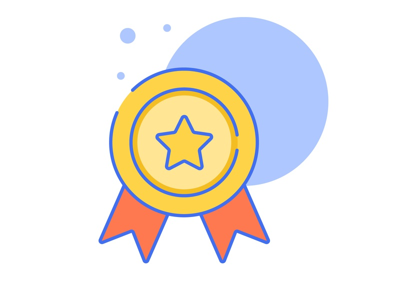 Award-Icon-Animation blue orange yelow popup award luster icon animation motion design animation after effects