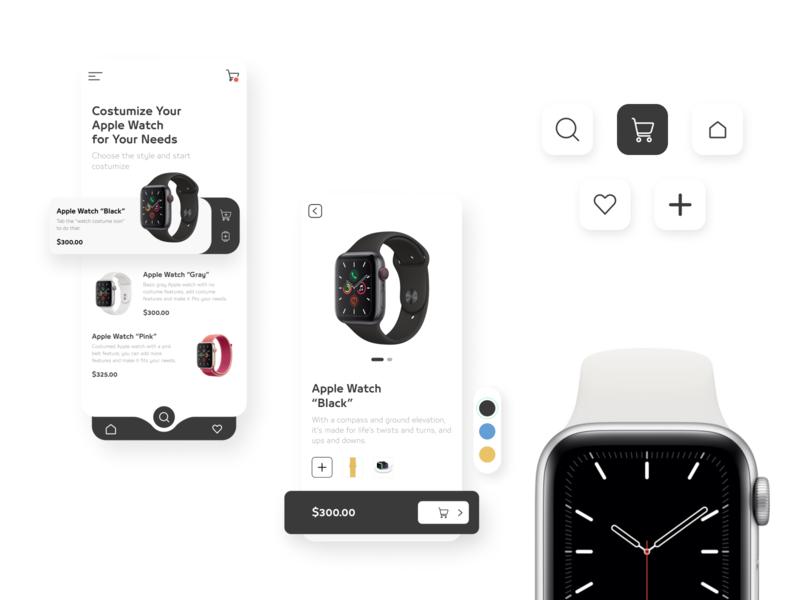 Apple Watch Constructor blue yellow icons colors design white black style watch apple ux ui concept mobile app design mobile app
