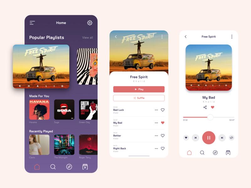 Music App icons orange purple cover album modern light dark interface play music minimal ux ui mobile app design mobile app