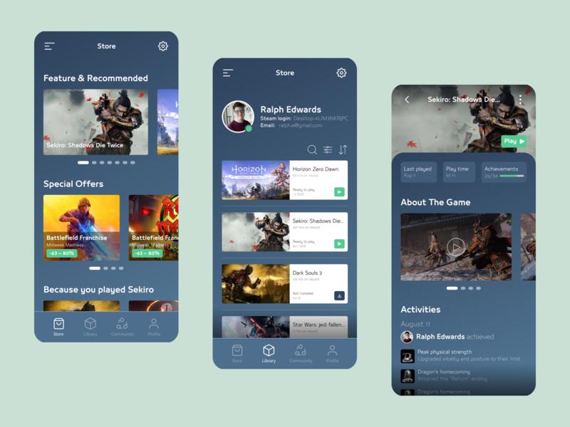 Steam Redesign Concept redesign blue dark cards typogaphy colors platform games ui ux mobile design mobile app