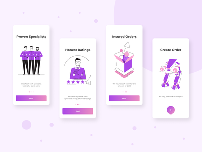 Onboarding Screens screens purple white mobile app ui onboarding design app