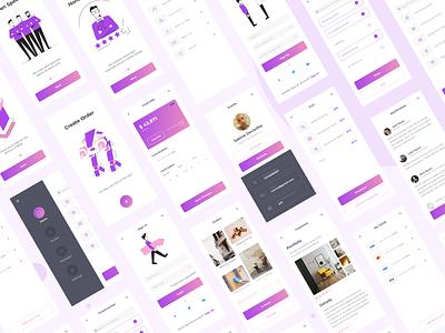 Instruction-App onboarding cards payment menu profile instruction white purple screens ux ui mobile app design app