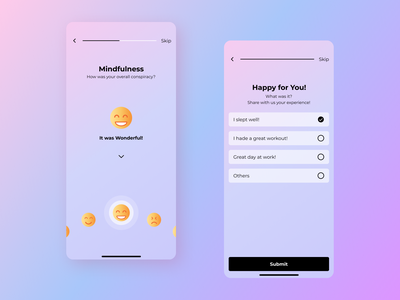 Feedback screen pink purple checklist gradient pagination experience feedback emojis black button colors screens mobile app design mobile ui mobile app