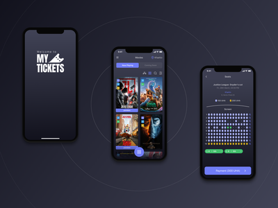 My Tickets App iphone ios cinema tickets movies light mode dark mode interface ui ux mobile app design