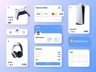 UI Pack white blue consle headset controller playstation sony games design mobile app design mobile
