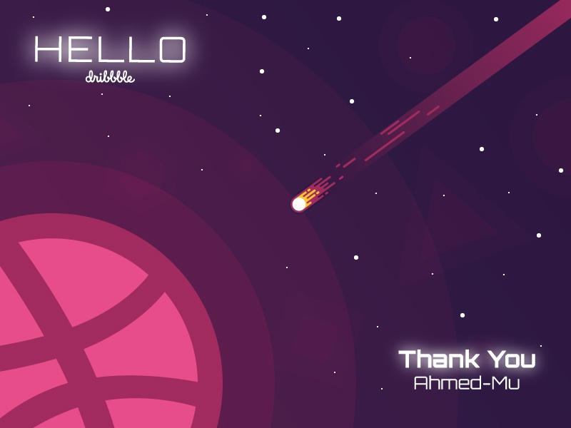 Hello Dribbble! light dark glow fire thank you hello stars meteor planet space dribbble first shoot